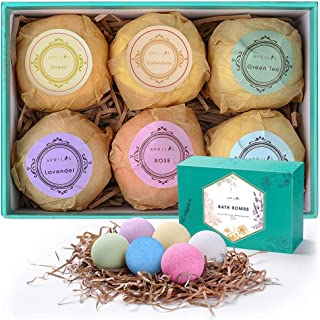 Aprilis Bath Bombs Gift Set, Organic & Natural Essential Oil Bath Bombs for Dry Skin Moisturizing, Handmade Lush Fizzy Spa Bath Set, Perfect Birthday/Christmas Gift for Women and Kids, Large 4 oz x 6