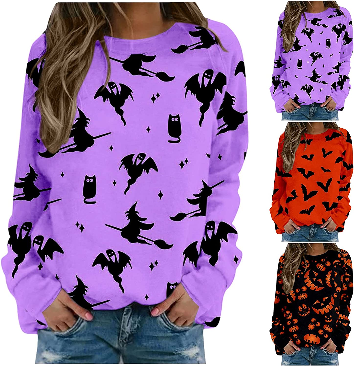 nunonette Sweatshirts for Women Crewneck Pullover Halloween Ghost Pattern Long Sleeve Tops Blouse Casual Loose Style Sweater