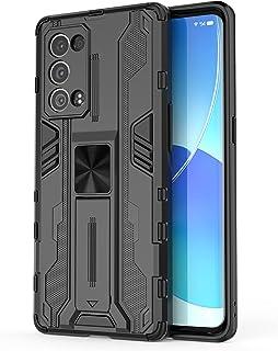 جراب Oppo Reno6 Pro + 5G، جراب واقٍ متين ومتين ومقاوم للصدمات مع مسند، جراب واقٍ مضاد للصدمات لهاتف Oppo Reno6 Pro+ 5G-Blue