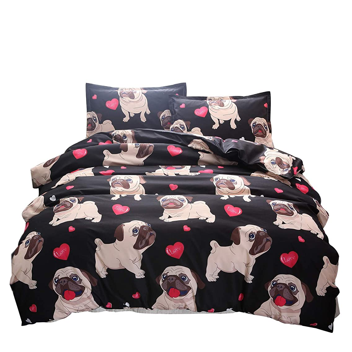 YOUSA Reversible Children Bedding Sets for Girls Boys Teens Animal Cartoon Bulldog Duvet Cover Set (Full,Dog)