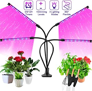 Grow Light, SONATA Four Head Timing Plant Grow Lights for Indoor Plants, 72 LED 9 Dimmable Levels Lamp Bulbs with Red Blue Full Spectrum, Adjustable Gooseneck, 3 9 12H Timer, 3 Switch Modes