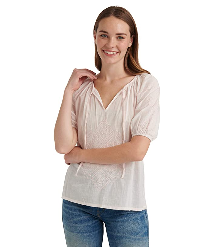 Lucky Brand  Short Sleeve V-Neck Embroidered Peasant Top (Mauve Morn) Womens Clothing