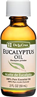 De La Cruz Pure Eucalyptus Essential Oil, Steam Distilled, Bottled in USA 2 FL. OZ.