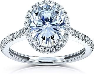 Kobelli Forever One Oval Moissanite Halo Engagement Ring 2 1/4 CTW 14k White Gold (DEF/VS, GH/I)
