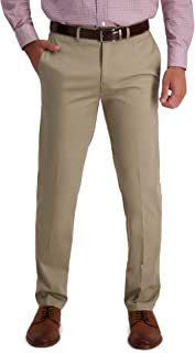 Haggar Men's Iron Free Premium Khaki Straight Fit Flat Front Flex Waist Casual Pant