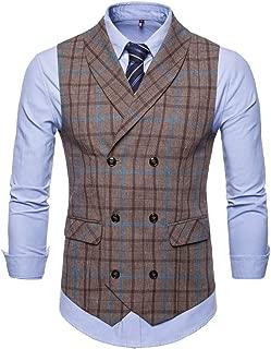 Koolsants Men's Plaid Tweed Suit Vest Double-Breasted Casual Waistcoat Shawl Lapel Business Suit Vest