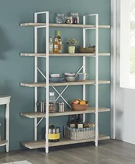 Homissue 5-Shelf Modern Style Bookshelf, Light Oak Shelves and White Metal Frame, Display Storage Rack for Collection, 70.0-Inch Height