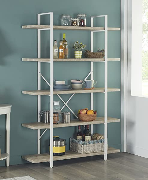 Homissue 5 Shelf Modern Style Bookshelf Light Oak Shelves And White Metal Frame Display Storage Rack For Collection 70 0 Inch Height