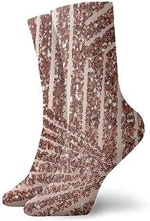 tyui7, Calcetines de compresión antideslizantes con rayas doradas y brillantes de color rosa Calcetines deportivos acogedores de 30 cm para hombres, mujeres y niños
