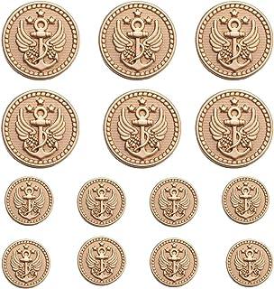 MebuZip 14 Pieces Anchor Gold Metal Blazer Button Set 18MM 23MM for Blazers, Suits, Sport Coats, Uniform, Jackets (MBM24)