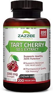 Zazzee Tart Cherry Extract Capsules, 200 Count, 3000 mg Strength, Potent 10:1 Extract,..