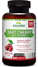 Zazzee Tart Cherry Extract Capsules, 200 Count, 3000 mg Strength, Potent 10:1 Extract, Over 6-Month Supply, Vegan, Non-GMO and All-Natural