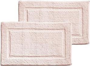 mDesign Soft 100% Cotton Luxury Hotel-Style Rectangular Spa Mat Rug, Plush Water Absorbent, Decorative Border - for Bathro...