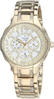 Venice SV4012-IPG-W Stainless Steel Stones embellished Round Analog Watch for Women - Gold