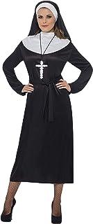 Smiffys Women's Nun Costume Dress with Belt and Headdress, Black, Medium
