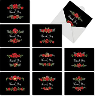 10 Assorted 'Holiday Elegance' Christmas Cards with Envelopes 4 x 5.12 inch, Boxed Stationery with Thank You Surrounded by Poinsettias, for New Year, Gifts, Season's Greetings M4175XTB-B1x10