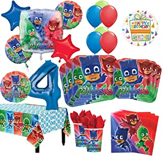 Mayflower Products PJ Masks 4th Birthday Party Supplies 8 Guest Kit and Balloon Bouquet Decorations
