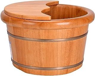 حوض القدم - حوض القدم الخشبي ، حوض القدم الخشبي الصلب ، وعاء باديكير سبا تدليك أرز باديكير براميل حمام القدم المنزلية مع غطاء