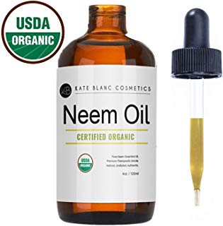 Neem Oil (4oz) by Kate Blanc. USDA Certified Organic, Virgin, Cold Pressed, 100% Pure. Great for Hair, Skin, Nails. Natural Anti Aging Moisturizer. 1-Year Guarantee