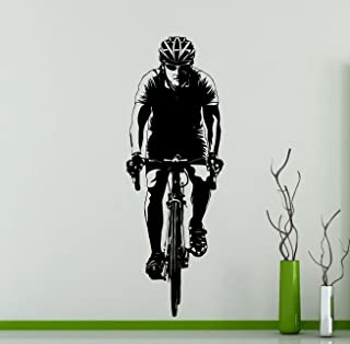 Awesome Decals Bicyclist Cyclist Wall Decal Sport Cycling Bicycle Club Vinyl Sticker Home Interior Art Decoration Any Room Mural Waterproof Vinyl Sticker (25ex)