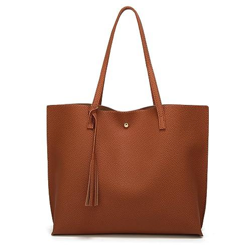 Women s Soft Leather Tote Shoulder Bag from Dreubea 0ad792b9af053