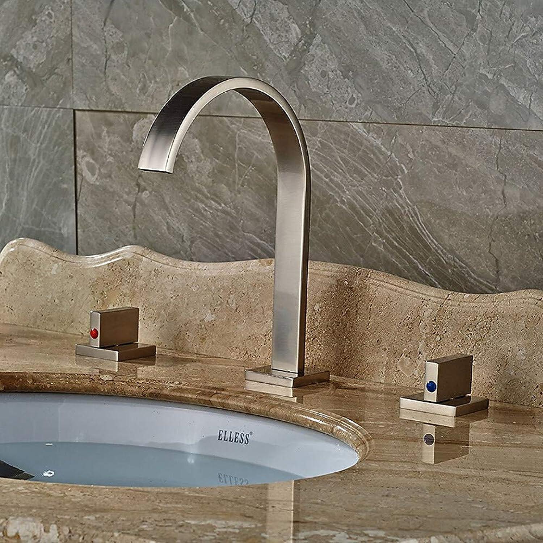 Fire wolf Bathroom faucet:Bathroom Sink Faucet - Widespread Nickel Brushed Vessel Two Handles Three Holes,2