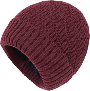 Home Prefer Daily Beanie Hat for Men Warm Winter Hats Thick Knit Cuff Beanie Cap