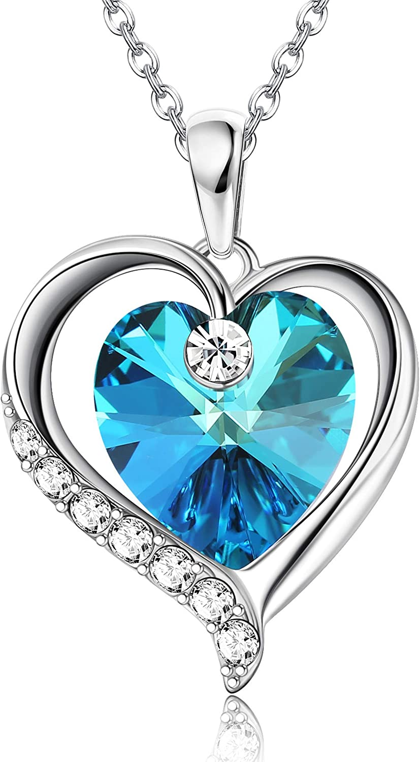 Sllaiss Sterling Silver Heart Pendant Virginia Beach Mall Light Sapphi Necklace with Max 58% OFF