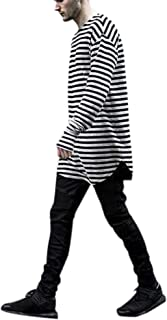 Gihuo Men's Striped Round Neck Long Sleeve Cotton T-Shirt