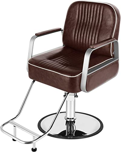 lowest Artist Hand Barber Chairs, All Purpose Brown Salon Hair Chair popular with Heavy Duty Hydraulic Pump, 360 Degrees Rolling Swivel Spa Beauty Equipment for Hair Cutting 2021 Stylist Women Man, Max 330 Lbs outlet online sale