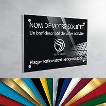 Plexiglas professioneel bord met gravure, 30 x 20 cm, 13 kleuren verkrijgbaar (zwarte achtergrond)
