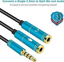 Mic Audio Splitter, Headphones Splitter, Headset Mic Adapter, Headphone and Mic Splitter for Gaming Headset, PS4, Xbox One, Laptop, Windows, Linux, BlackBerry, Andriod (Blue)