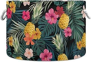 Okrągły kosz do przechowywania kosz tropikalne liście palmy hibiskus kwiaty ananasy składany wodoodporny kosz na pranie dz...