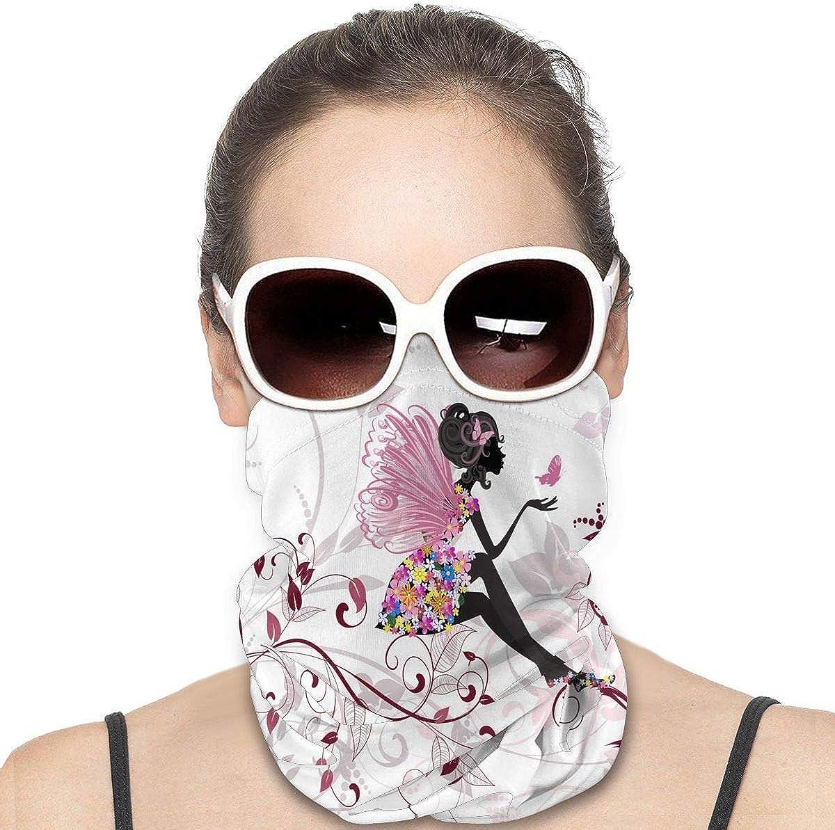 KiuLoam Women Bandanas Face Mask, Beauty Butterfly Girl with Flowers Neck Gaiter Mask Headband for Men Face Scarf Dust, Outdoors, Sports