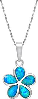 Sterling Silver Plumeria Flower Necklace Pendant with Simulated Blue Opal