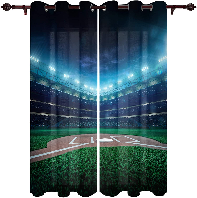 Window Treatment Sheer Curtains excellence Baseball Night Gra Save money Stadium Field