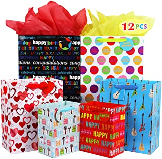 Fzopo Birthday Gift Bag Assortment with Ribbon Handle, Heavy Duty Paper Gift Bags, Red, Black, Pink, Blue (Pack of 12 Small, Medium, Extra Large Bags for Girls, Boys, Women, Men)