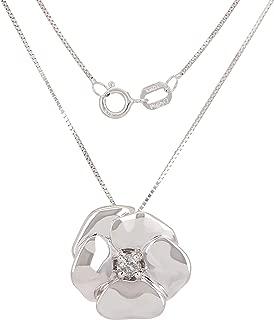 10k Yellow White or Rose Gold 0.05 ctw Diamond Flower Pendant Necklace 18