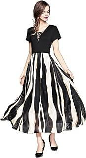 Women Boho Office Work Striped Casual Summer Beach Maxi Dress