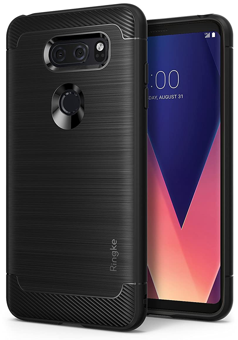 Ringke [Onyx] Compatible with LG V30 Case, V30 Plus, LG V30 ThinQ Case Fine Brushed Metal Design [Flexible & Slim] Dynamic Stroked Line Durable Anti-Slip TPU Shock Absorption - Black