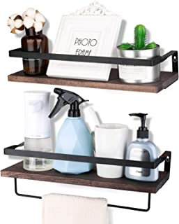 Awekris Floating Shelves Wall Mounted Set of 2 Rustic Wood Wall Storage Shelves for Bedroom, Living Room, Bathroom, Kitchen