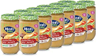 Hero Baby - Tarrito de Verduritas con Pollo y Ternera, Ingredientes Naturales, para Bebés a Partir de los 6 Meses - Pack d...