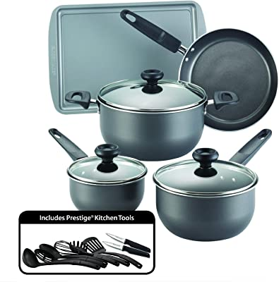 Farberware Dishwasher Safe High Performance Nonstick 16-Piece Cookware Set, Charcoal