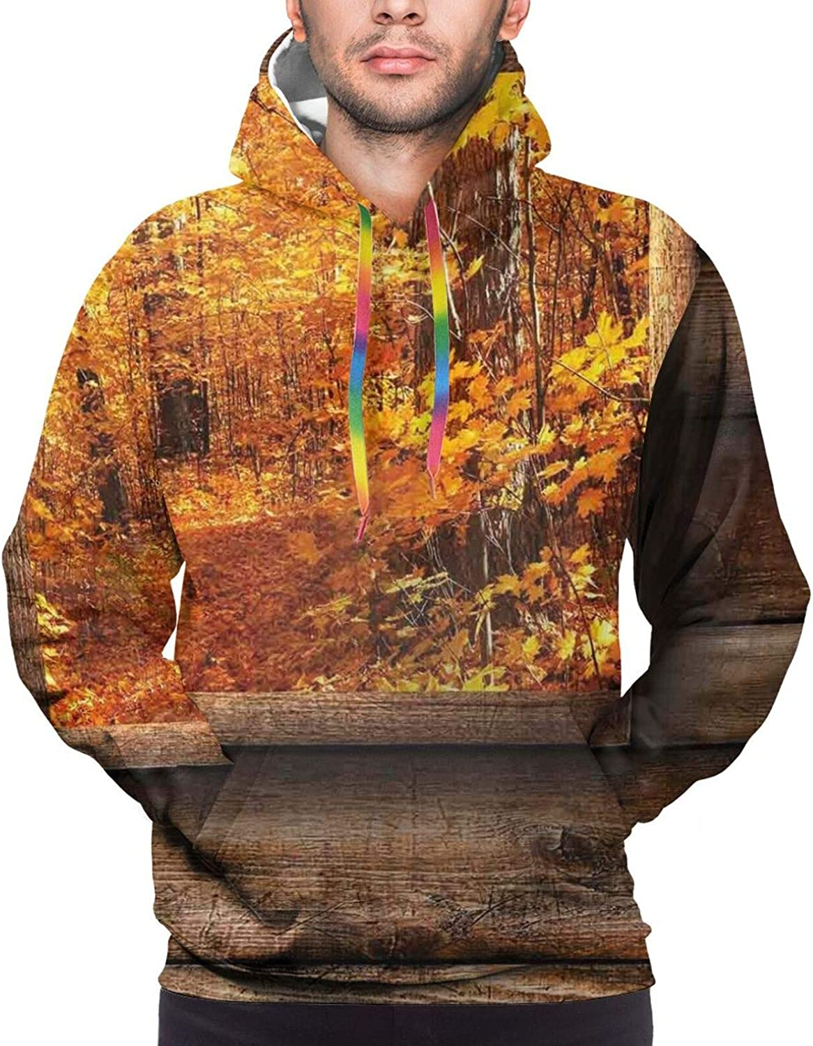 Men's Hoodies Sweatshirts,Fall Colored Trees and Snowy Mountain Landscape with Crystal Lake Nature