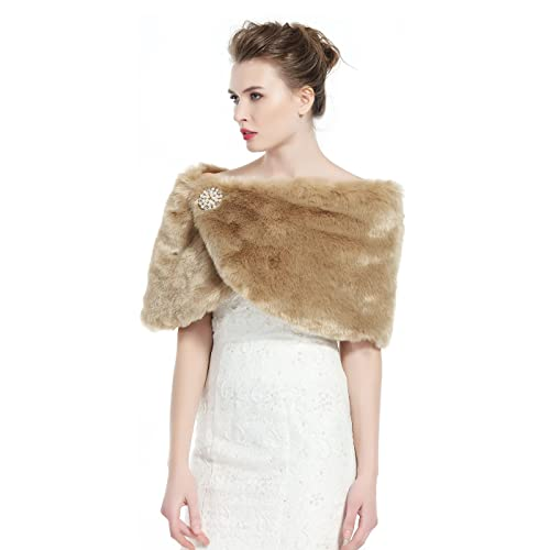 34b0b33203c1f BEAUTELICATE Faux Fur Wrap Shawl Women's Shrug Bridal Stole for Winter Wedding  Party Free Brooch (
