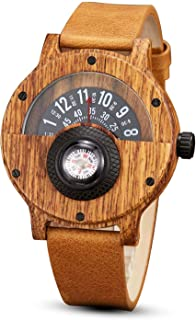 Compass Turntable Men's Wooden Watch Leather Strap Handmade Natural Wood Watches Quartz Sports Watch Box