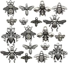 100g Bee Charms Collection - Antique Silver Tone Honey Bee Fly Insect Metal Pendants for Jewelry Making DIY Findings (HM119)