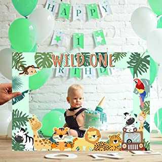 Wild One Photo Booth Frame Wild One Safari Animals Birthday Party Decorations Supplies for 1st Birthday Decorations Boys o...