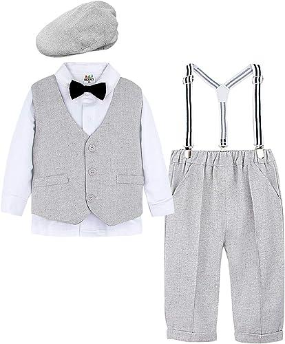 mintgreen Conjunto de Camisa Manga Larga para Bebé Niños con Chaleco+Pajarita+ Pantalones Tirantes+Boina,4 Piezas, Ta...