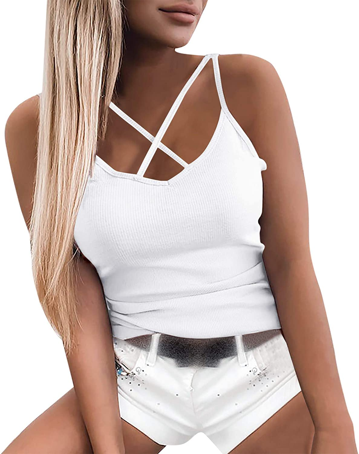 Womens SEAL limited product Sleeveless Fashion Cross Strap Tank 5 ☆ very popular Camisole T-Shirt Top